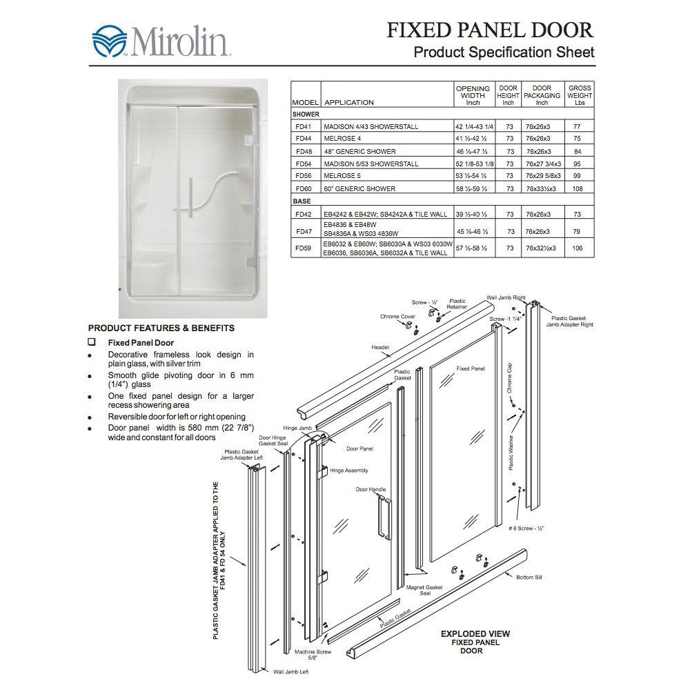 Mirolin Fd54 Fixed Panel Pivot Door Plain Silver Home