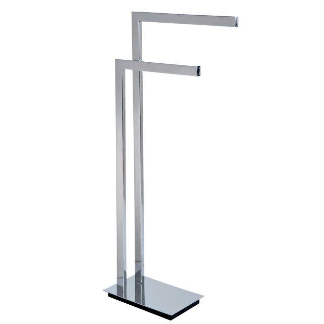 double towel bar brushed nickel. Laloo 9000BN Floor Stand Double Towel Bar Brushed Nickel