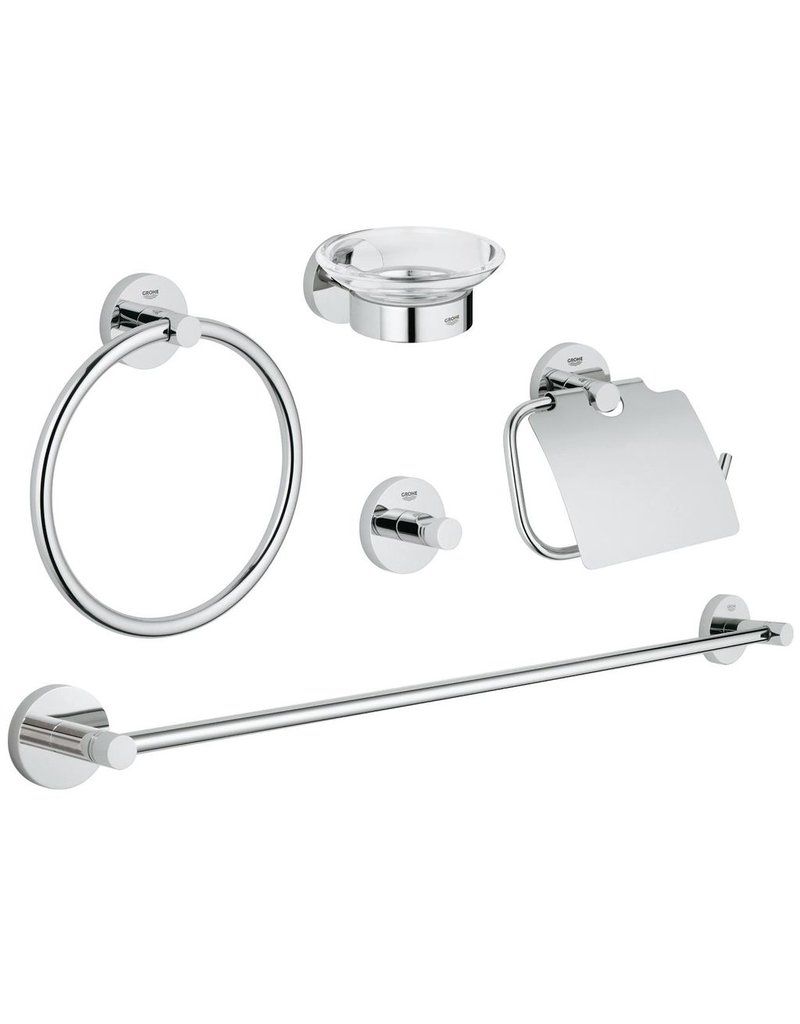 Bathroom accessories set chrome - Grohe Grohe 40344001 Essentials Master Bathroom Accessories Set Chrome