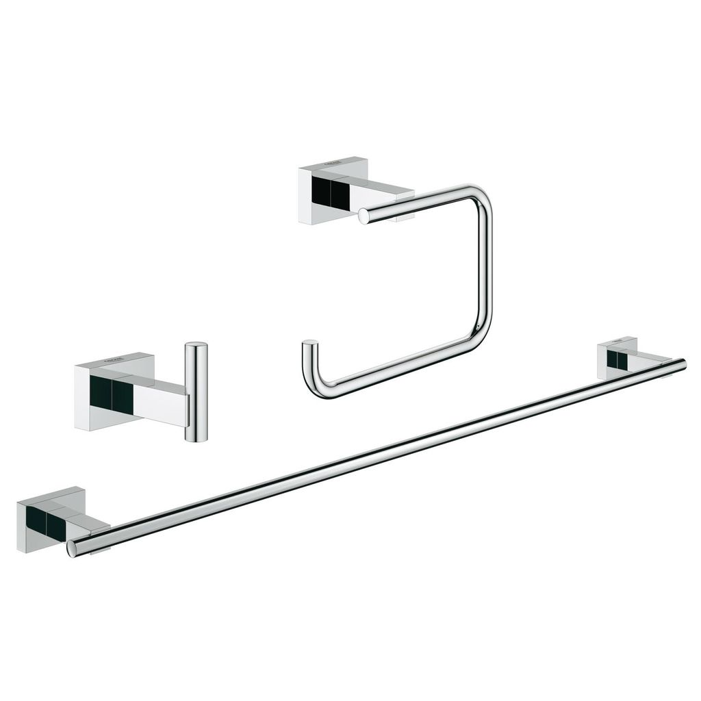 Grohe Grohe 40777001 Essentials Cube Guest Bathroom Accessories Set 3 In 1  Chrome ...