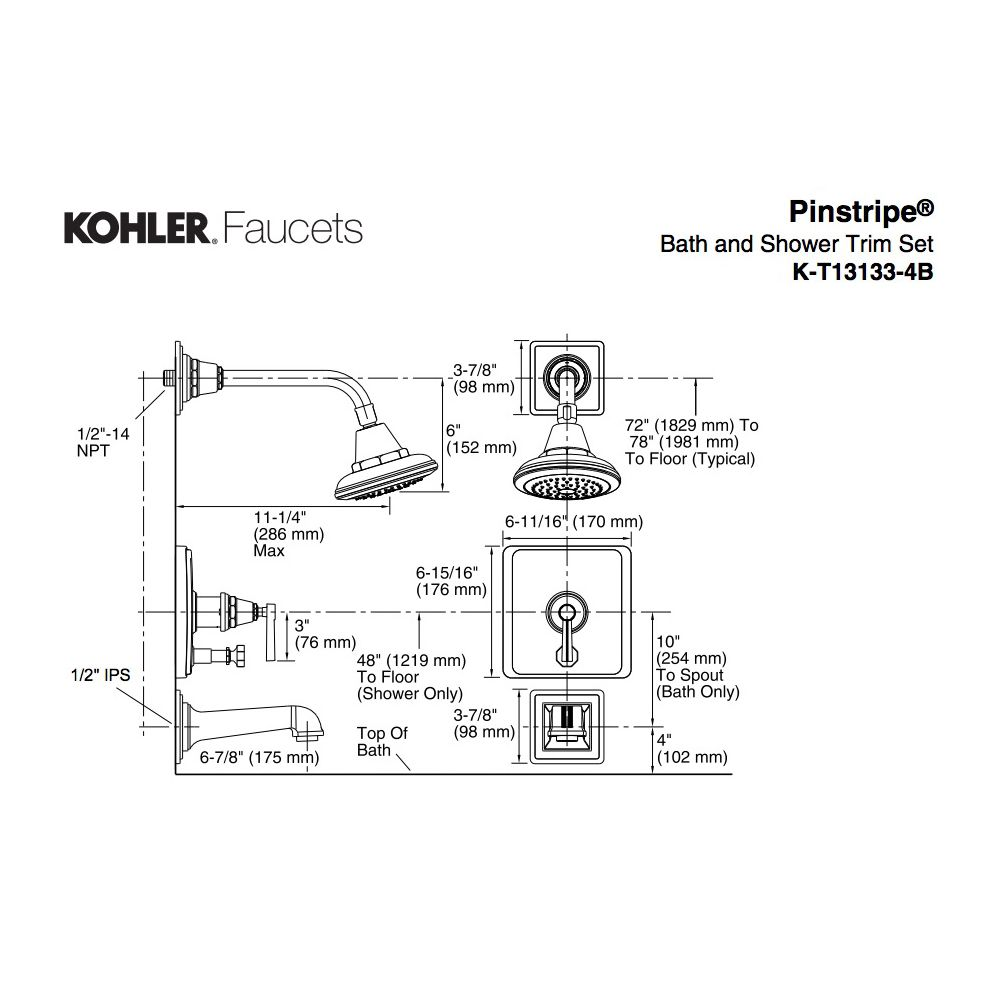 Kohler T13133 4b Sn Pinstripe Rite Temp Pressure Balancing Bath And Shower Valve Diagram Faucet Trim With Lever Handle Not Included