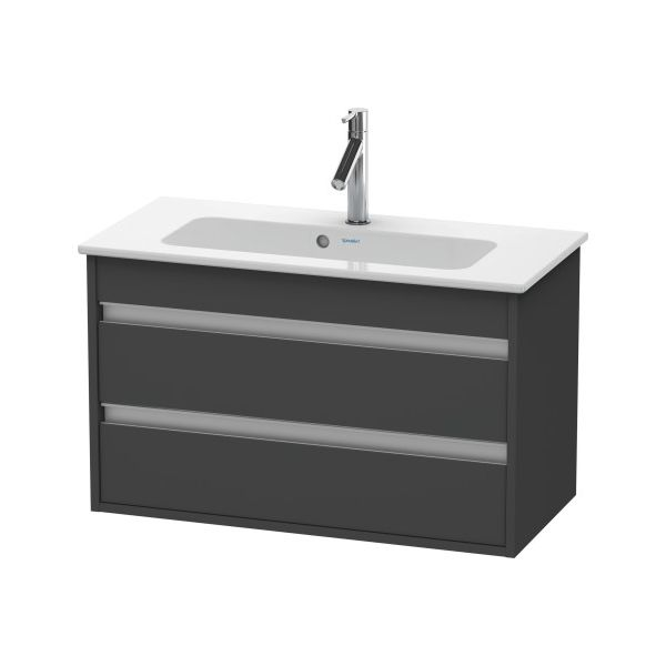 Duravit KT6453 Ketho Wall Mounted Compact Vanity Unit Graphite Matt - Home Comfort Centre