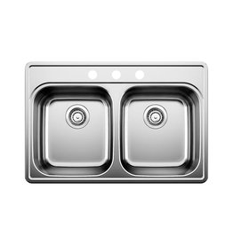 Blanco Blanco 400003 Essential 2 Three Holes Double Drop In Kitchen Sink