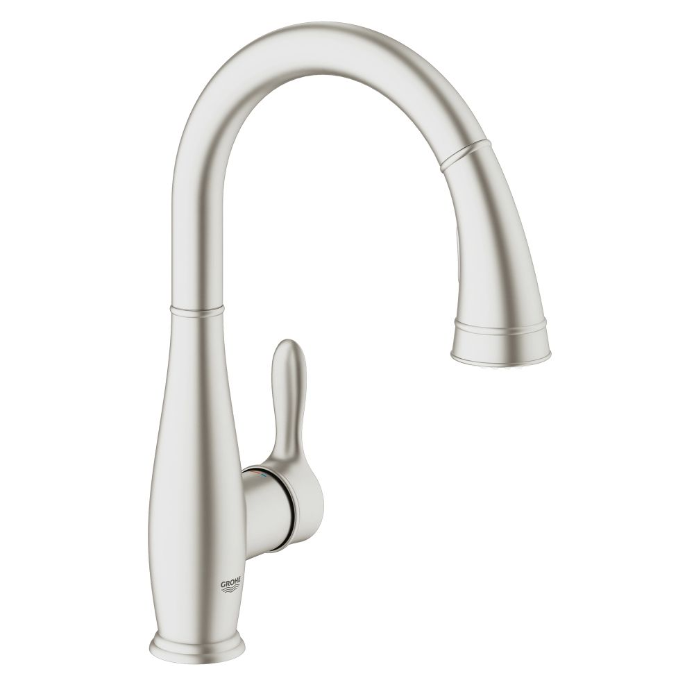 Grohe Grohe 30213DC1 Parkfield Single Handle Pull Out Kitchen Faucet Super  Steel ...