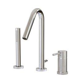 Aquabrass Aquabrass X7513 Xround 3 Piece Deckmount Tub Filler With Handshower Brushed Nickel