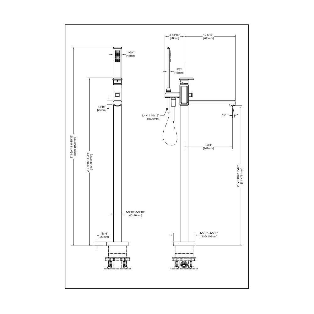 ... Gessi Gessi 48129 Trim Parts Only Floor Mounted Tub Filler Chrome