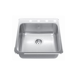 Kindred Kindred QSL2020/7 20 x 20 Stainless Steel Drop In Sink 1 Hole