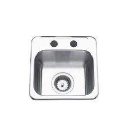 Kindred Kindred QSL1313/6 13 x 13 Single Bowl Prep Sink 1 Hole