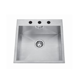 Kindred Kindred QSLF2020/8 20 x 20 Single Bowl Dual Mount Sink 3 Holes