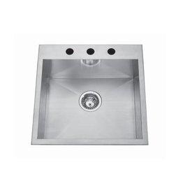 Kindred Kindred QSLF2020/8 20 x 20 Single Bowl Dual Mount Sink 4 Holes