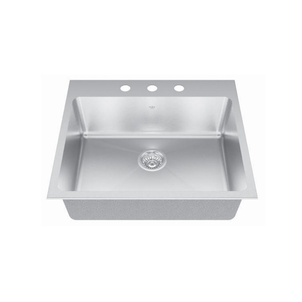 Kindred Kindred QSLY2225/8 22 X 25 Single Bowl Dual Mount Sink 1 Hole ...