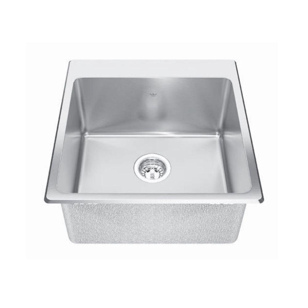 Kindred Kindred QSLF2020/10 20 X 20 Single Bowl Dual Mount Sink 1 Hole ...