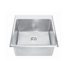 Kindred Kindred QSLF2020/10 20 x 20 Single Bowl Dual Mount Sink 3 Holes