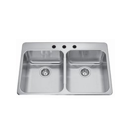 Kindred Kindred QDLA2233/8 33 x 22 Double Bowl Drop In Sink 3 Holes