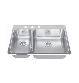 Kindred Kindred QCLA2031R/8 31 x 20 Double Bowl Kitchen Sink 3 Holes