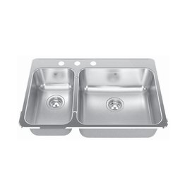 Kindred Kindred QCLA2031L/8 31 x 20 Double Bowl Kitchen Sink 3 Holes