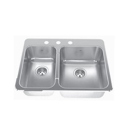 Kindred Kindred QCLA2027L/8 27 x 20 Doouble Bowl Kitchen Sink 3 Holes