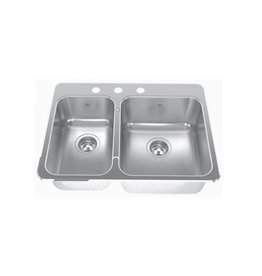 Kindred Kindred QCLA2027R/8 27 x 20 Double Bowl Kitchen Sink 3 Holes