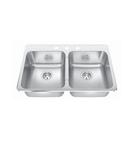 Kindred Kindred CDLA2031/8S 31 x 20 Double Bowl Kitchen Sink 1 Hole