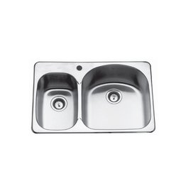 Kindred Kindred CDC2031L/8S 31 x 20 Double Bowl Kitchen Sink 2 Holes