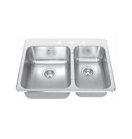 Kindred Kindred CCLA2027R/8S 27 x 20 Double Bowl Kitchen Sink 3 Holes