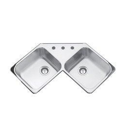 Kindred Kindred QCR/8 43 x 23 Double Bowl Corner Sink 4 Holes