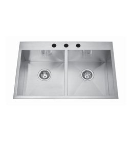 Kindred Kindred QDLF2031/8 31 x 20 Double Bowl Dual Mount Sink 3 Holes