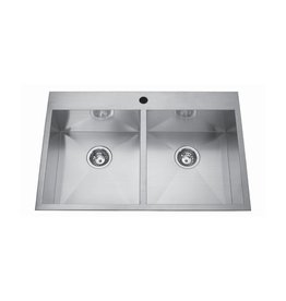 Kindred Kindred QDLF2233/8 33 x 22 Double Bowl Kitchen Sink 1 Hole