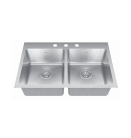 Kindred Kindred QDLY2031/8 31 x 20 Dual Mount Double Bowl Sink 1 Hole