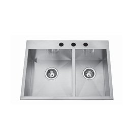 Kindred Kindred QCLF2027R/8 27 x 20 Dual Mount Double Bowl Sink 1 Hole