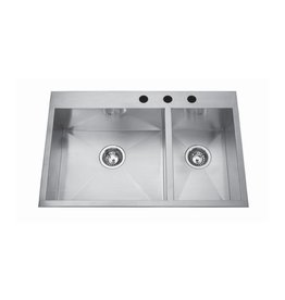 Kindred Kindred QCLF2031R/8 31 x 20 Dual Mount Double Bowl Sink 3 Holes