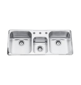 Kindred Kindred QTCM1841/8 41 x 18 Triple Bowl Prep Kitchen Sink 3 Holes