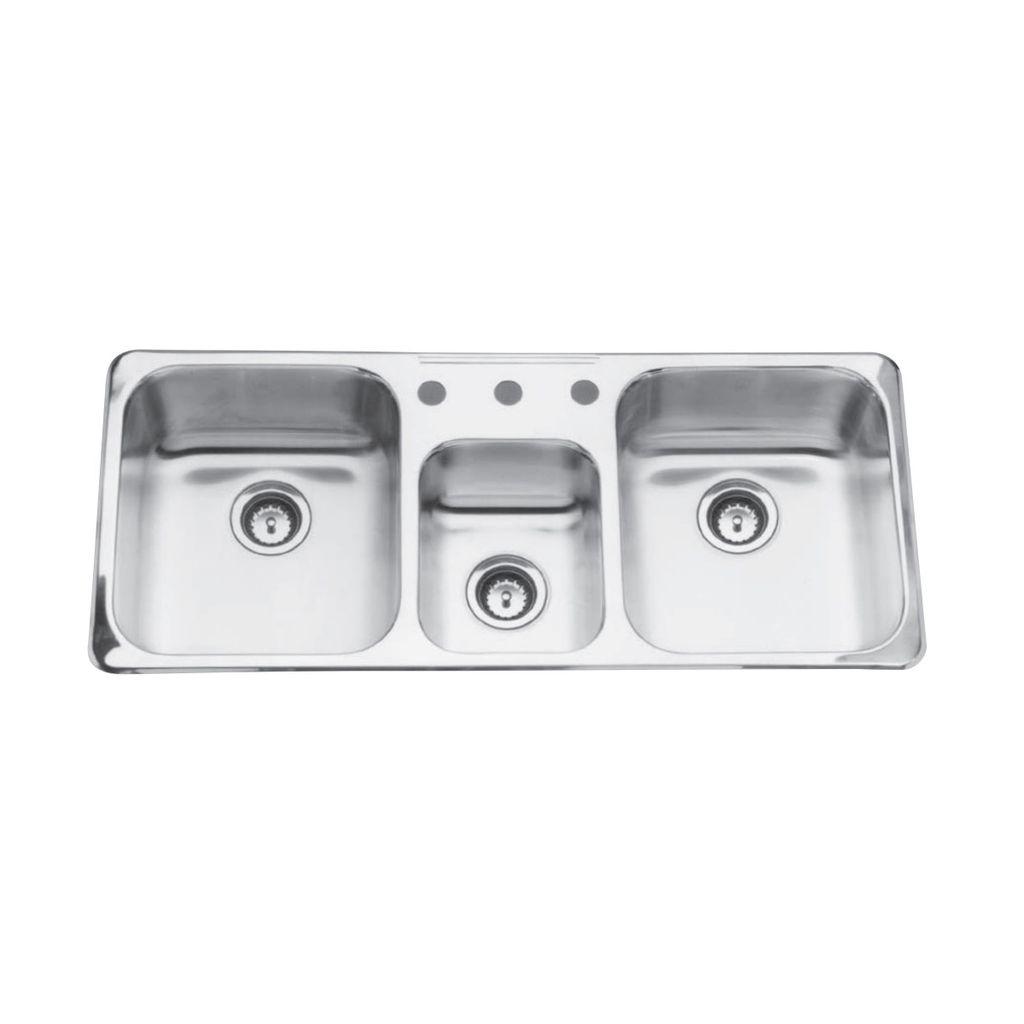 Kindred qtcm18418 41 x 18 triple bowl prep kitchen sink 3 holes kindred kindred qtcm18418 41 x 18 triple bowl prep kitchen sink 3 holes workwithnaturefo