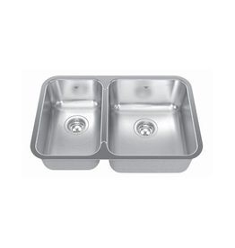 Kindred Kindred QCUA1827R/8 27 x 18 Double Bowl Kitchen Sink