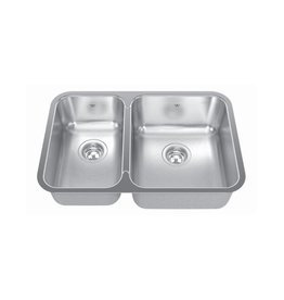 Kindred Kindred QCUA1827L/8 27 x 18 Double Bowl Kitchen Sink