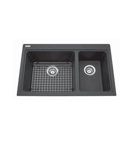 Kindred Kindred KGDC2031R/8 31 x 20 Double Bowl Combination Granite Sink Shadow Grey
