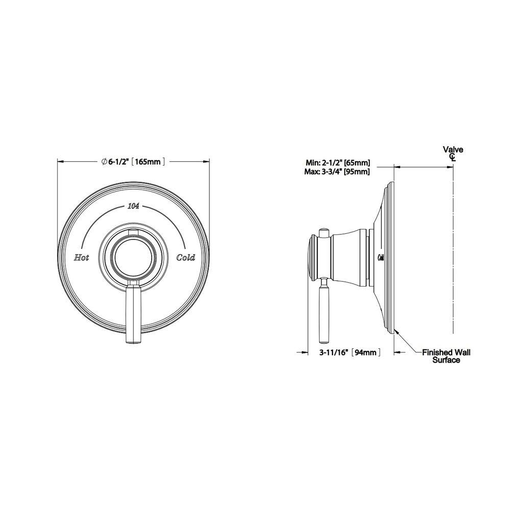 TOTO TS211T Keane Thermostatic Mixing Valve Trim Chrome - Home ...
