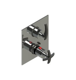Rubinet Rubinet 2QLALCHMB LaSalle Temperature Control Valve With Stops And Two Way Diverter With Shut Off Chrome Matte Black