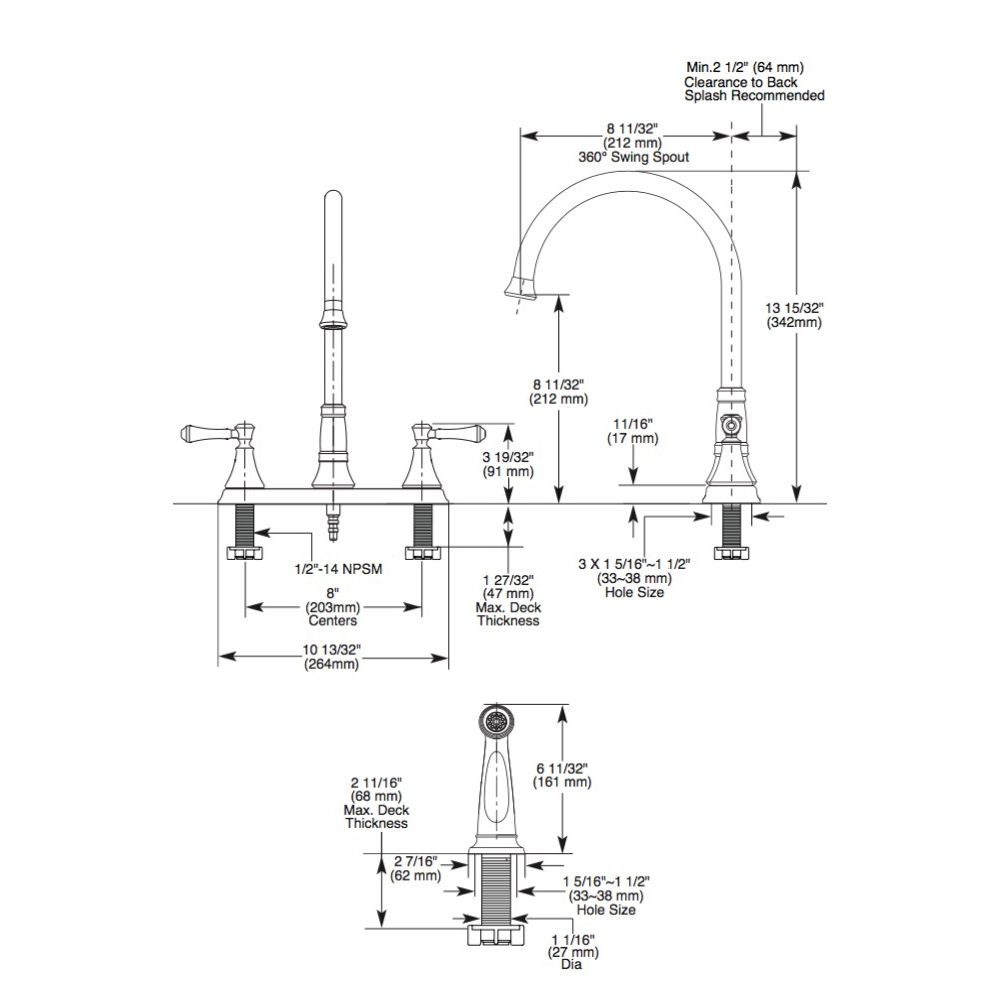 Delta 2497lf Cassidy Two Handle Kitchen Faucet With Spray