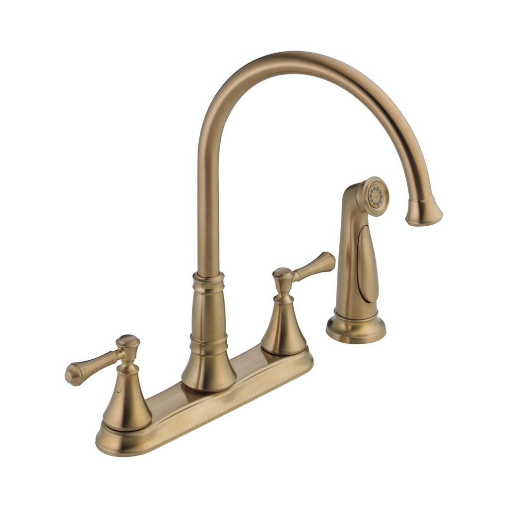 Delta 2497lf Cidy Two Handle Kitchen Faucet With Spray Champagne Bronze