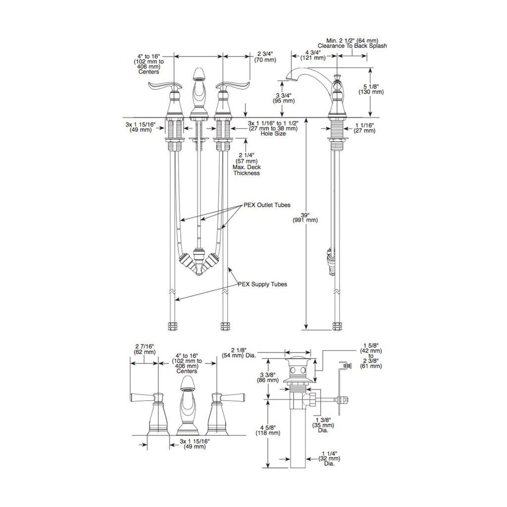 Delta Delta 3594 Linden Two Handle Widespread Lavatory Faucet Chrome