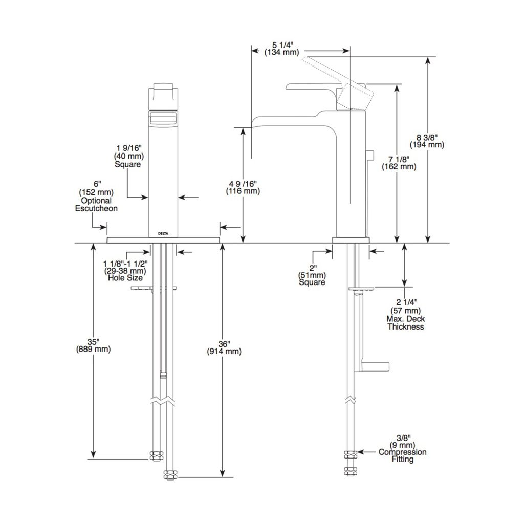 Delta Delta 568LF Ara Single Handle Channel Lavatory Faucet Matte Black