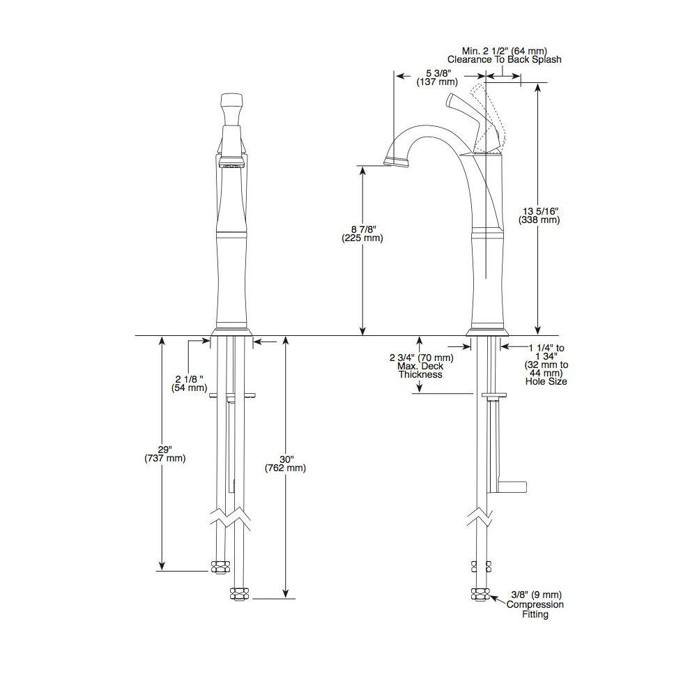 Delta Delta 751 Dryden Single Handle Vessel Lavatory Faucet Polished Nickel