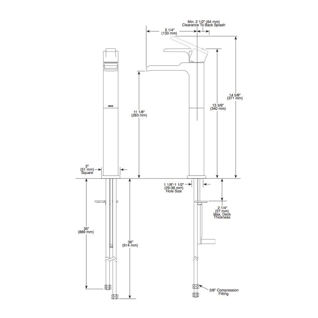 Delta Delta 768LF Ara Single Handle Vessel Channel Lavatory Faucet Brilliance Stainless