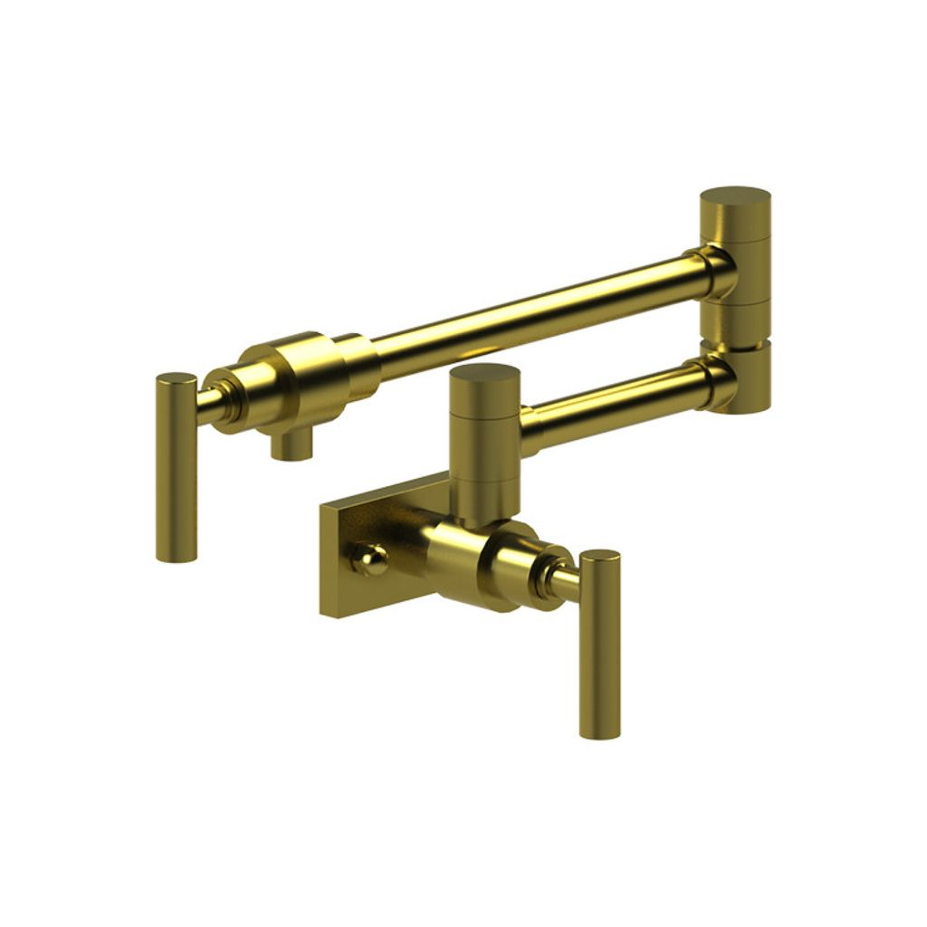 Rubinet Rubinet 8EGNLSBSB Genesis Wall Mount Pot Filler Level Handles Satin Brass