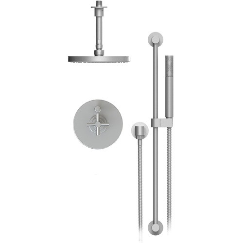 Rubinet Rubinet T213GNCSBSB Genesis Pressure Balance Shower With Fixed Shower Head And Arm Satin Brass