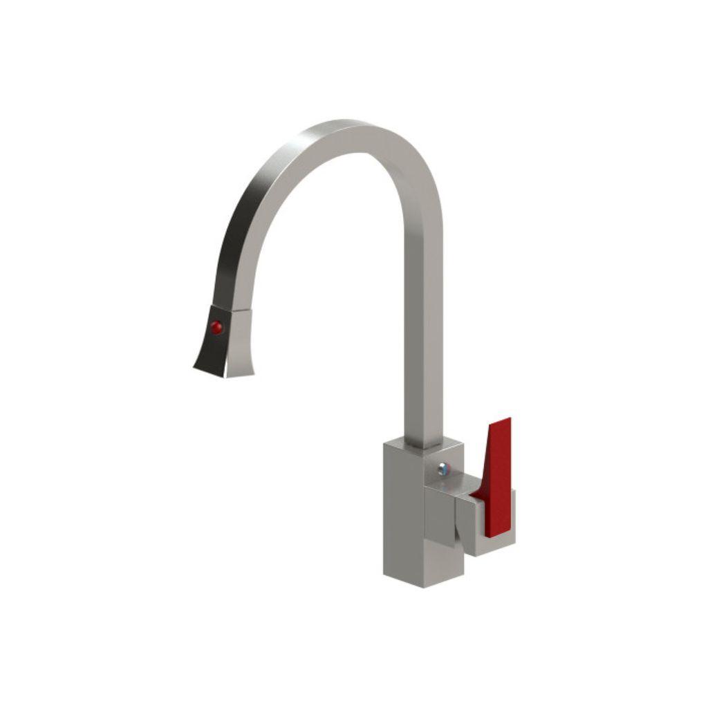 Rubinet Rubinet 8JRSLSNMR R7 Single Control Kitchen Set With Retractable Spray Satin Nickel Red