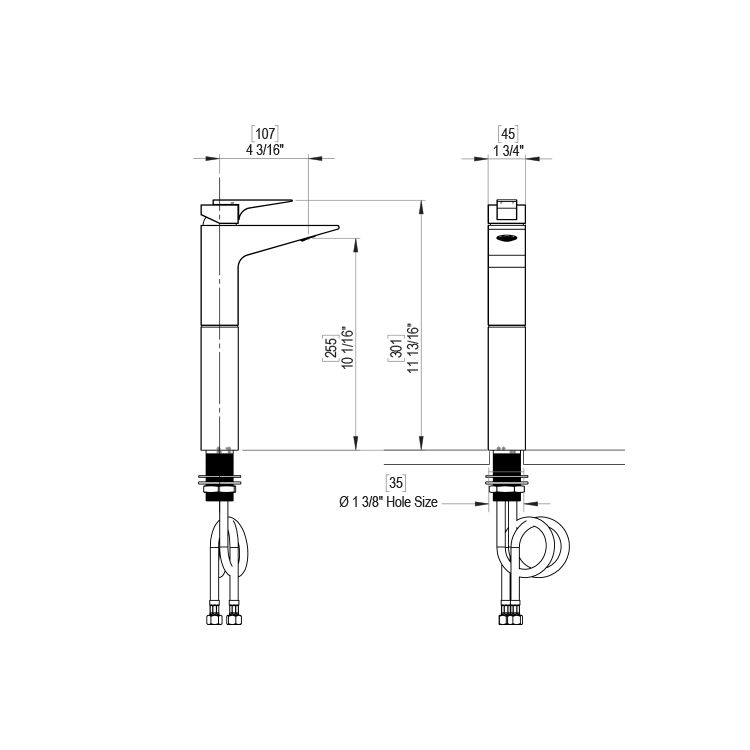 Rubinet Rubinet 1NRSLCHRD R7 Single Control Lavatory Set With Extended Base 10 1/6 Aerator To Deck Less Drain Chrome Red