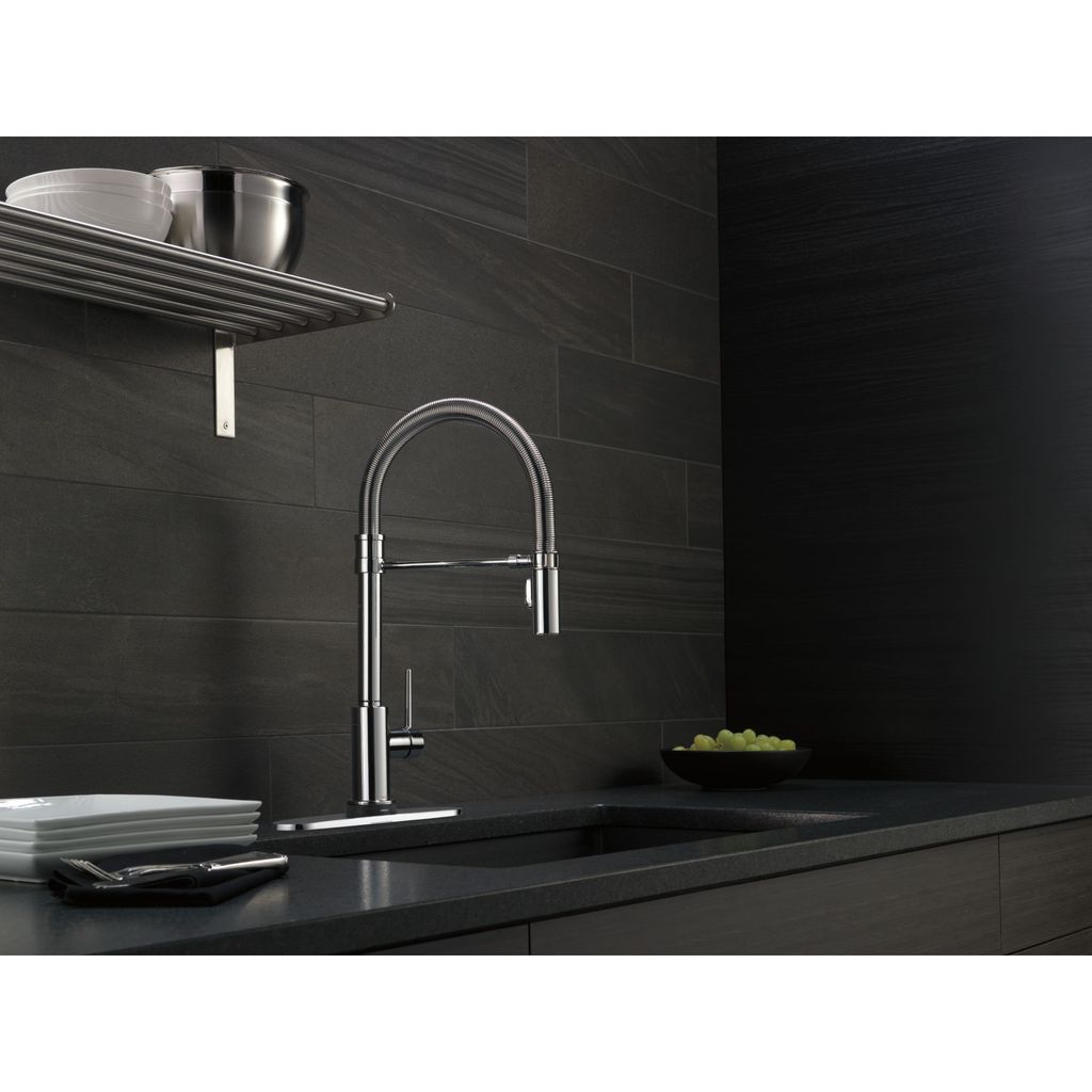 Delta 9659T Trinsic Pro Single Handle Pull Down Kitchen Faucet With ...