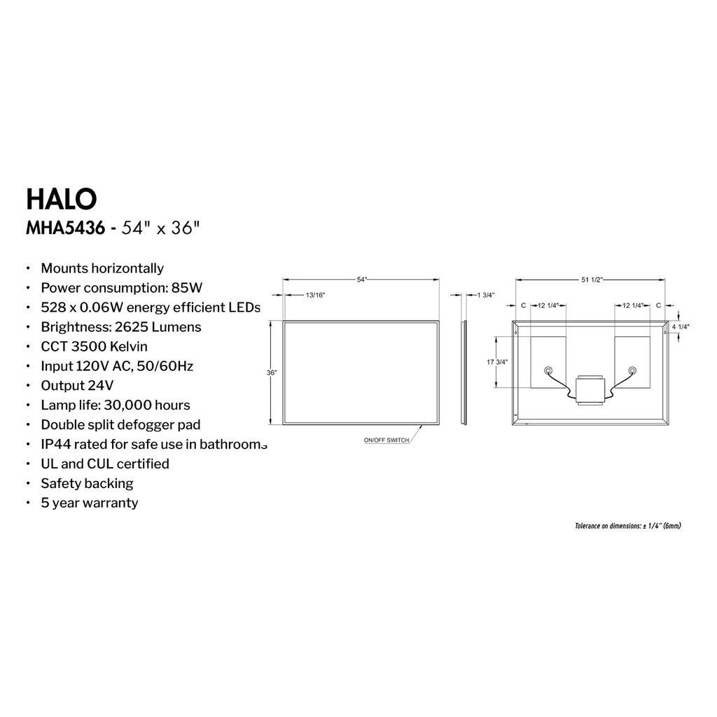 Fleurco Halo Mha5436 54 X 36 Mirror With Defogger